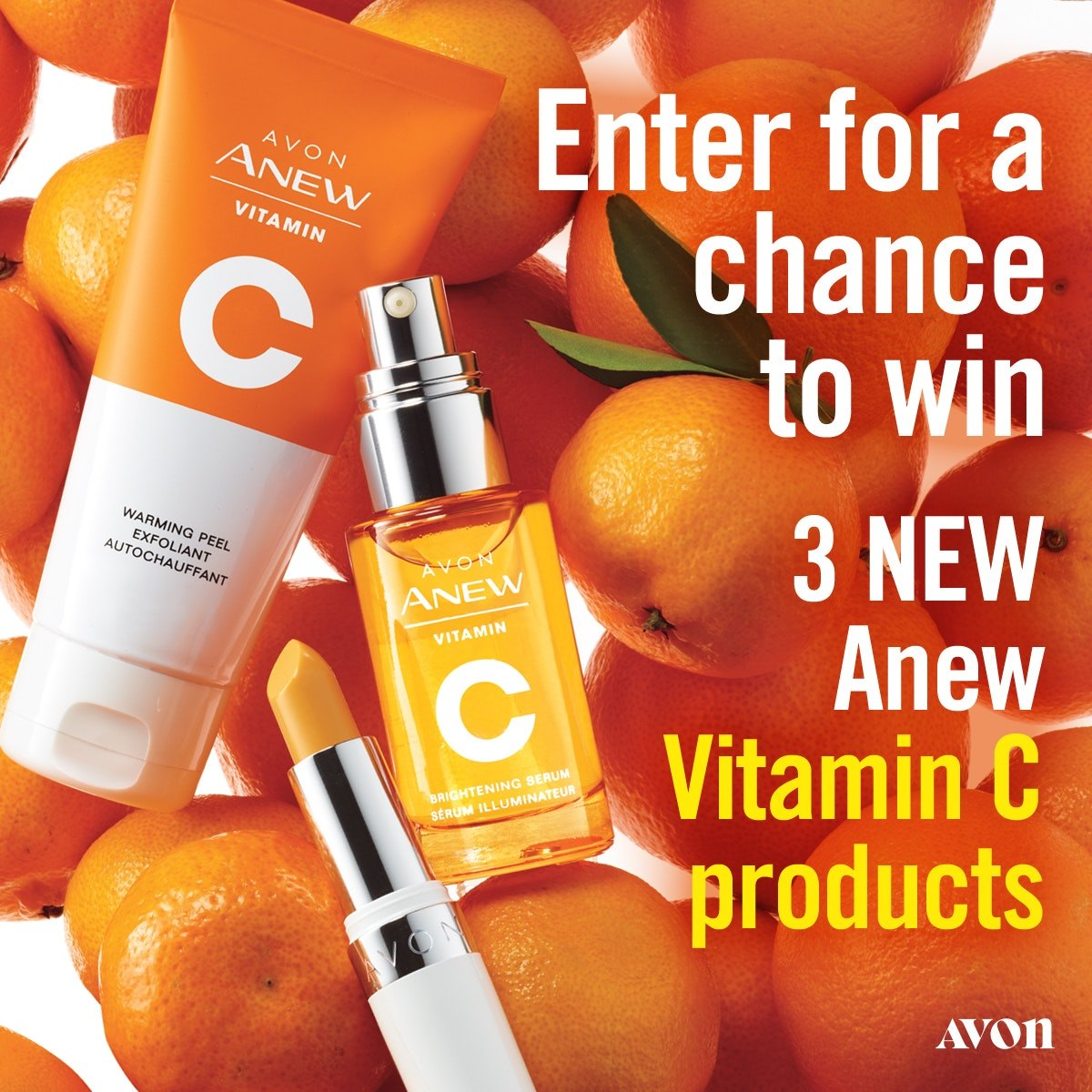 Avon Sweepstakes enter to win 3 Anew Vitamin C products. https://sweeps.youravon.com/mybeauty/vitaminc