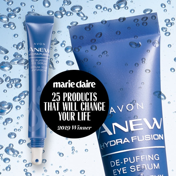 Marie Claire 25 Products that will Change Your Life Winner, Avon Anew Hydra Fusion De-Puffing Eye Serum https://www.avon.com/product/anew-hydra-fusion-de-puffing-eye-serum-62892?rrec=true&rep=mybeauty