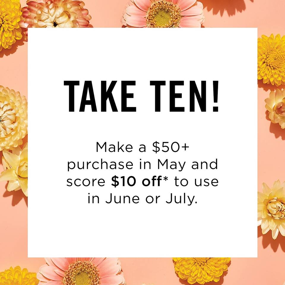 Special offer.  Make a $50 dollar purchase in May and receive a $10 off coupon to use in June or July. https://youravon.com/mybeauty