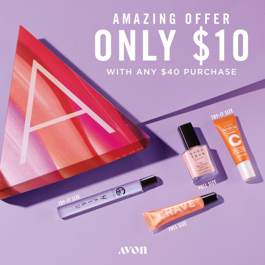 Amazing offer The A Box is only $10.00 with a $40.00 purchase. https://www.avon.com/a-box?rep=mybeauty