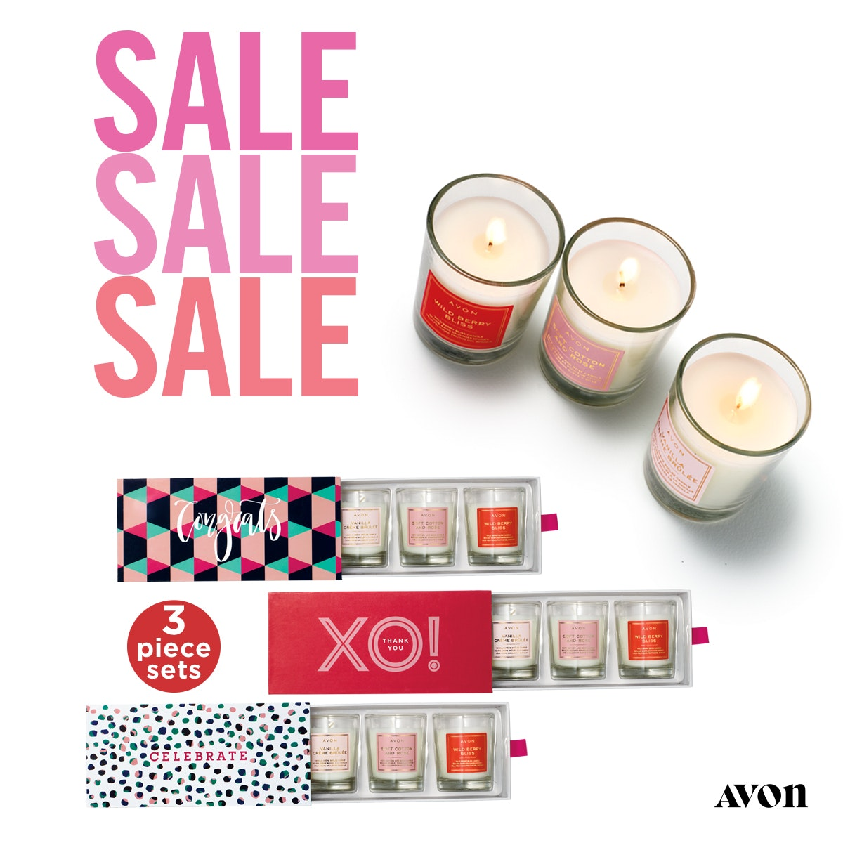 Avon Expression Votive Candle Sets on sale for $14.00. Three different sets to choose from.