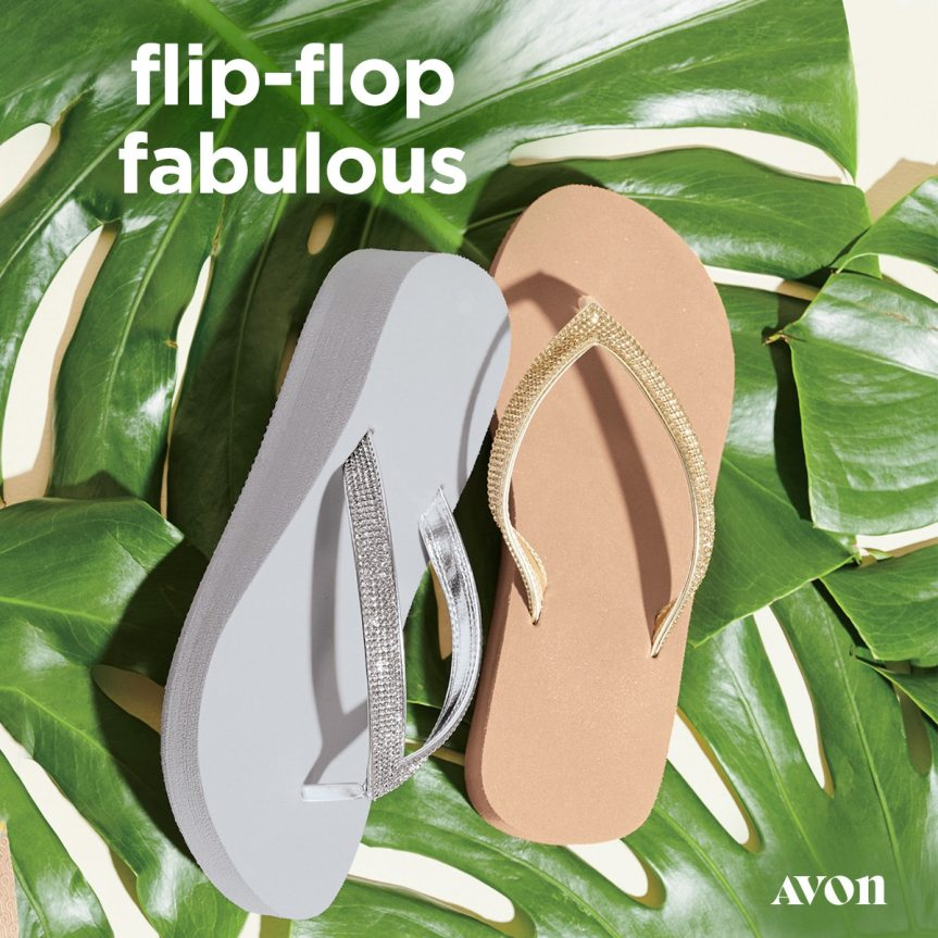 Glitter Strap Micro Wedge Flip Flops by Avon in Gold or Silver $14.99 pair