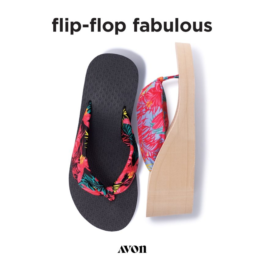Paradise print flip flops from Avon