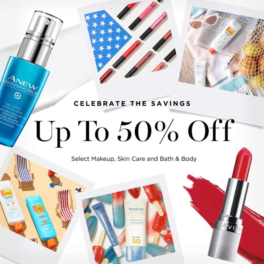 Avon's Celebrate the Savings Sale up to 50% off select makeup, skin care and bath & body items.