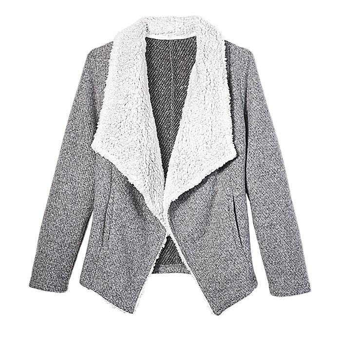Faux Shearling Cardigan Grey