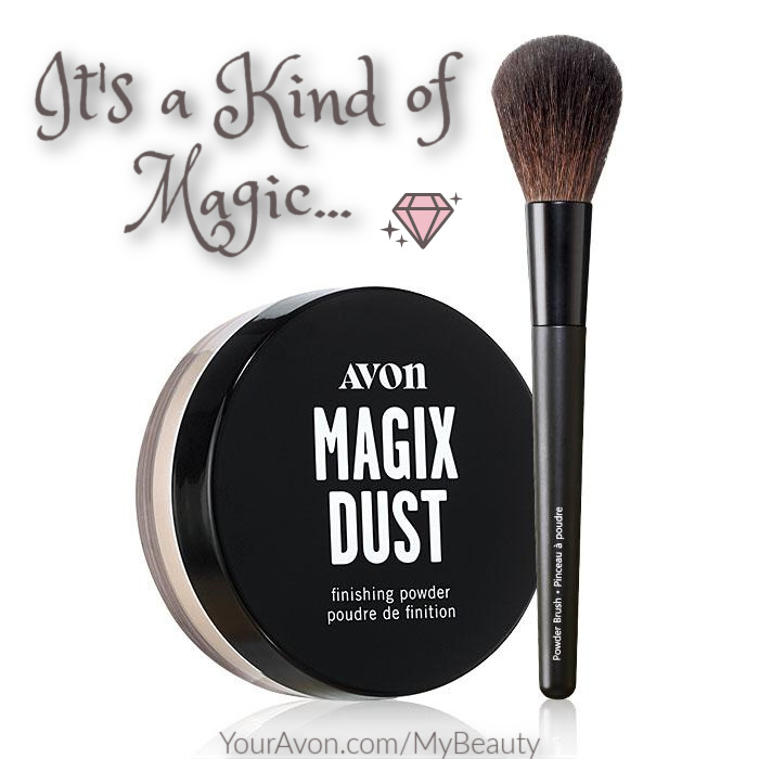 Magix Dust Finishing Powder made with precious gems + Powder Brush duo at a special price.  From Avon.
