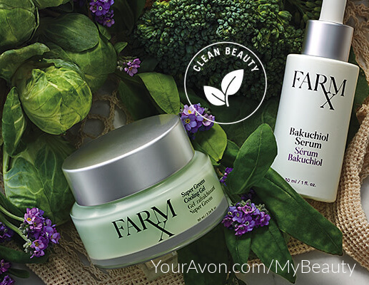 Farm RX Skin Care from Avon.  Super Green Ingredients.