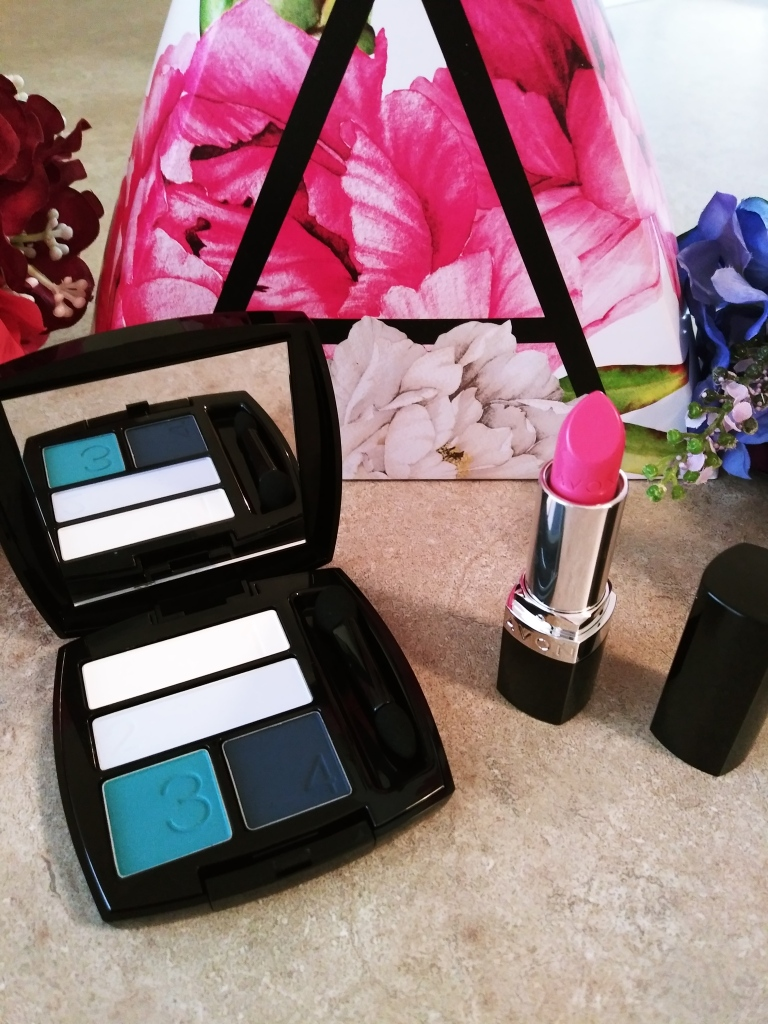 Blue Eyeshadow Palette and Bright Pink Lipstick from Avon