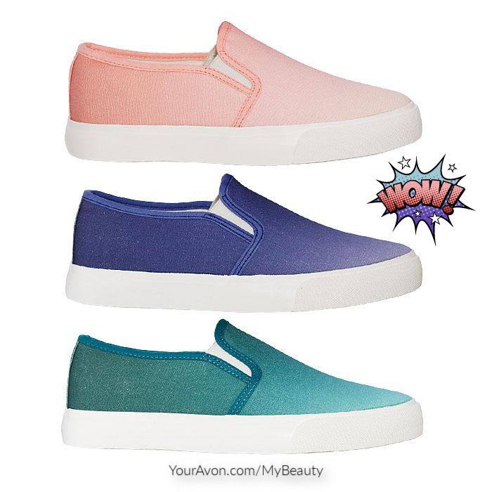 Colorful Pastel Slip-On Sneakers in Peach, Purple, and Teal. From Avon