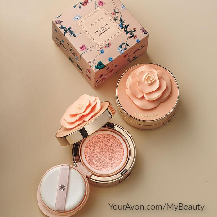 fmg Caress Me Cashmere Skin Perfecting Cushion Primer in gold case with gorgeous rose on top lid.  Gift boxed for Mother's Day.  From Avon