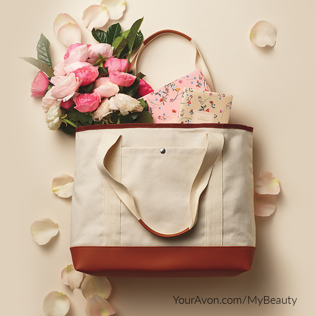Tote-ally Yours Tote Bag.  Two-toned canvas bag with inside pocket organizer.