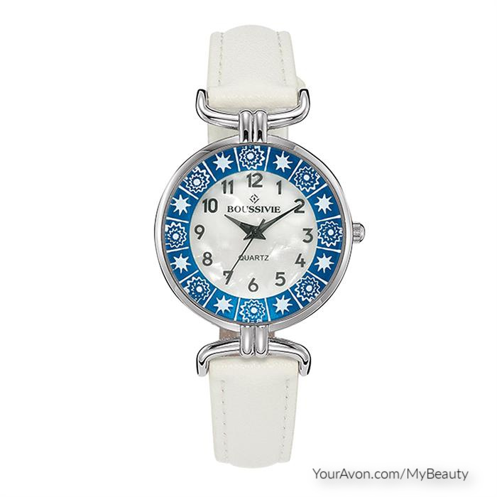 Lovely Mosaic Watch in White, Blue, and Silver.