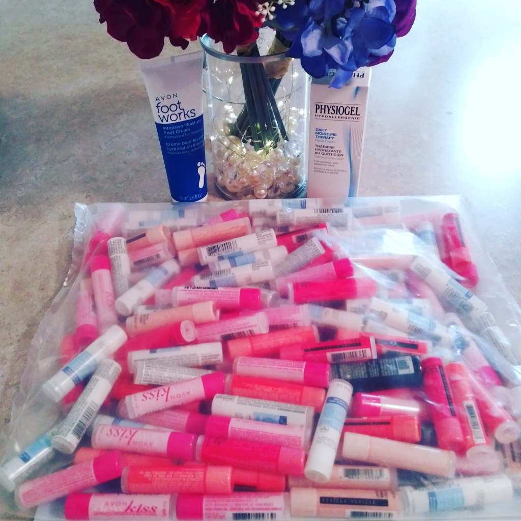 Large lip balm haul.  Avon gift for recruitment. 135 free assorted lip balms.