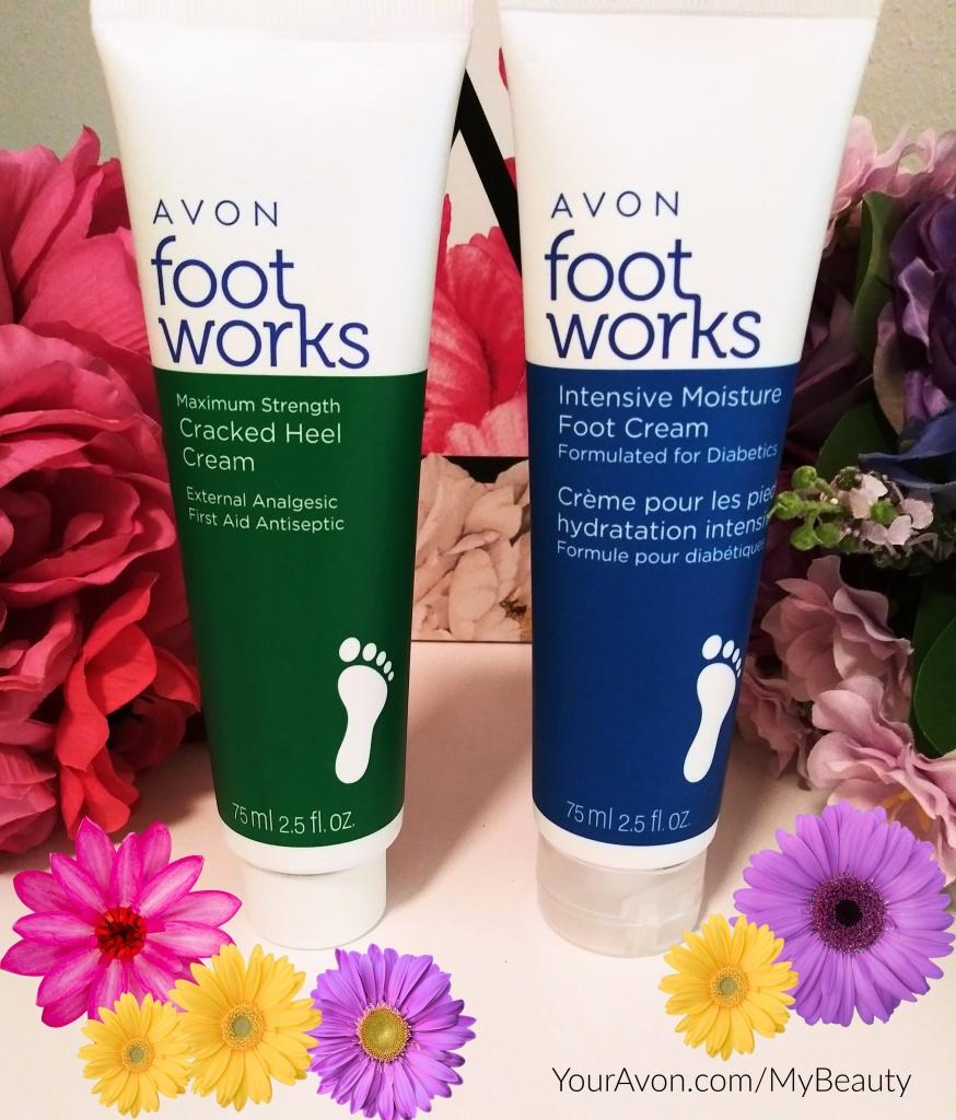 Avon Foot Works Maximum Strength Cracked Heel Cream and Intensive Moisture Foot Cream.