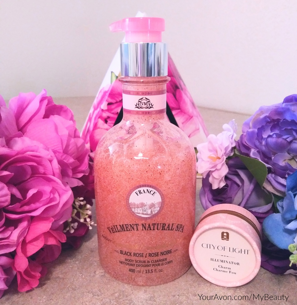 Veilment Natural Spa Black Rose Body Scrub and Cleanser plus City of Light Illuminating Powder in Charm, from Avon.