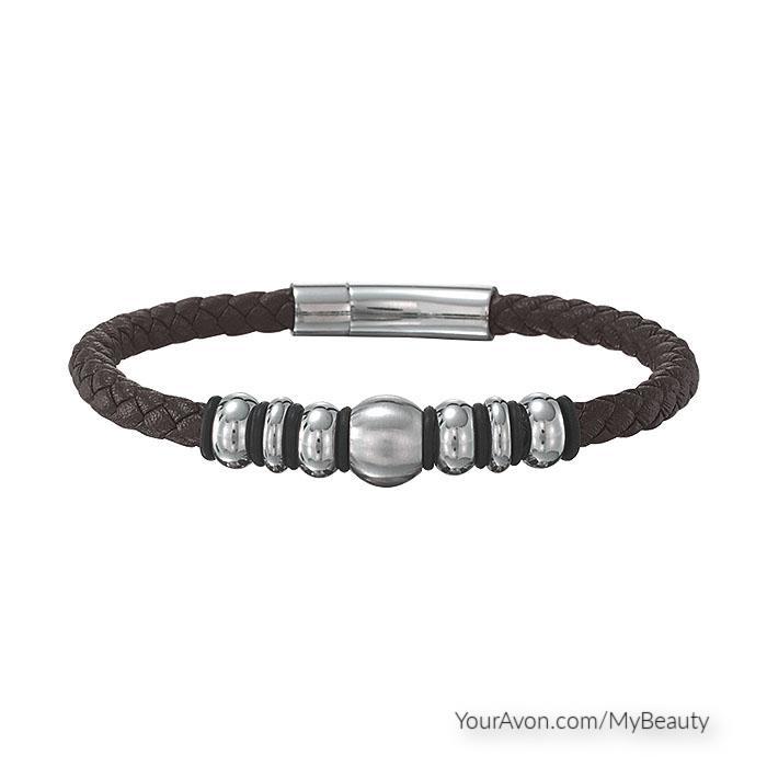 Men's Hematite and Leather Bracelet