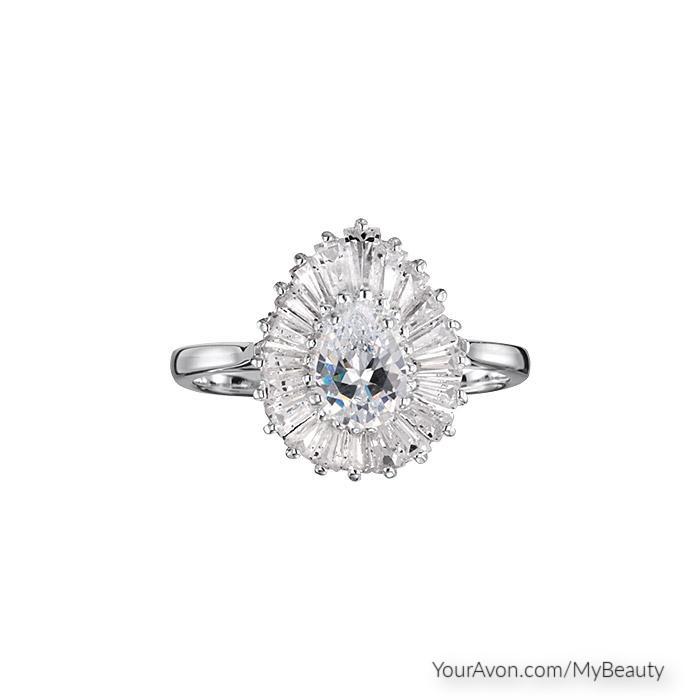 Sterling Silver CZ Vintage Style Teardrop Ring
