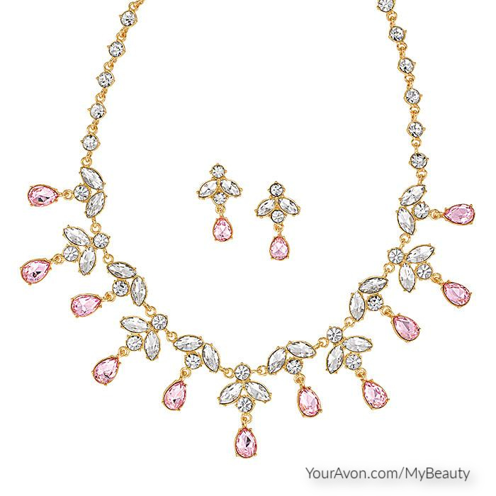 Sparkling Pink Statement Necklace and Earring Set