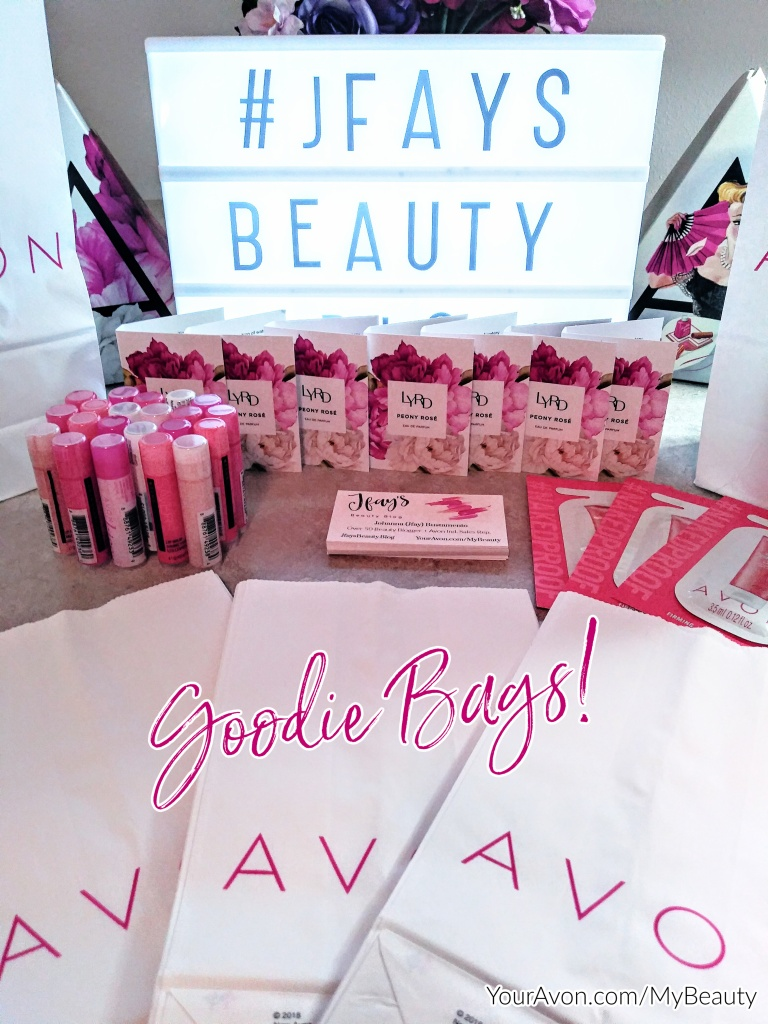 Putting Avon Goodie Bags together for friends and customers.  Jfays Beauty Blog.