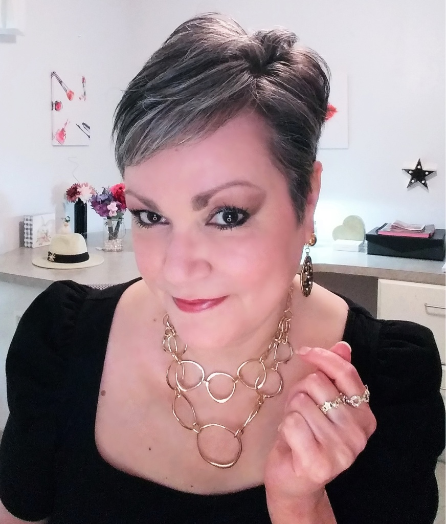 Finished makeup look using Avon makeup including the new fmg Glimmer Eyeshadow Quads in Muse and Goddess.