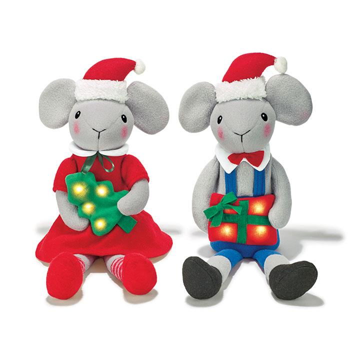 Light-Up Mouse Shelf Sitters for Christmas decor.