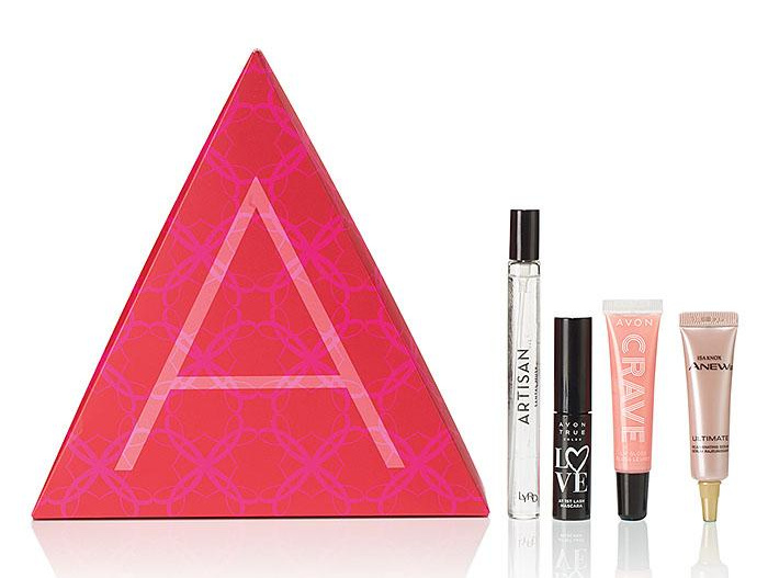 Romance Me, Pamper Me A-Box from Avon with skin care, lip gloss, mascara, and fragrance.