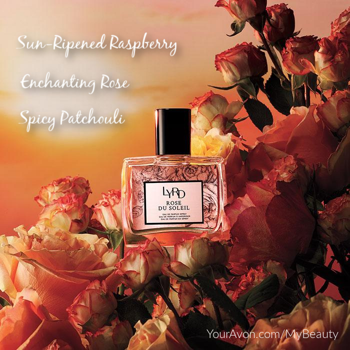 LYRD Rose du Soleil Parfum from Avon with Sun-Ripened Raspberry, Enchanting Rose, and Spicy Pathouli.
