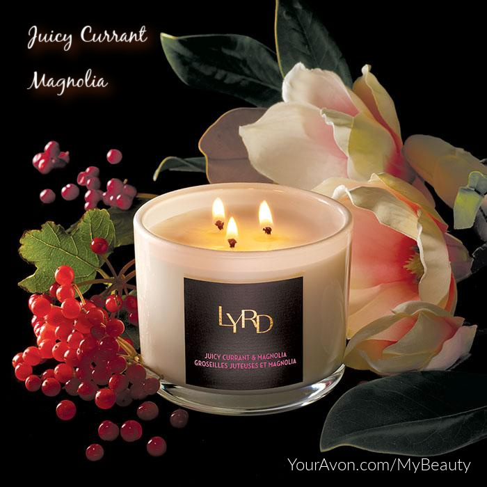 LYRD Juicy Currant and Magnolia Candle from Avon. Great for late Summer into Fall aroma.
