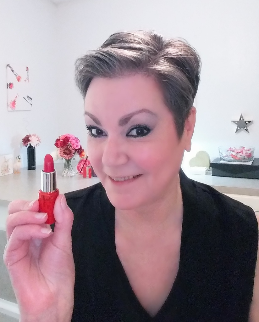 Time for lipstick!  Lipstick adds a beautiful pop of color.