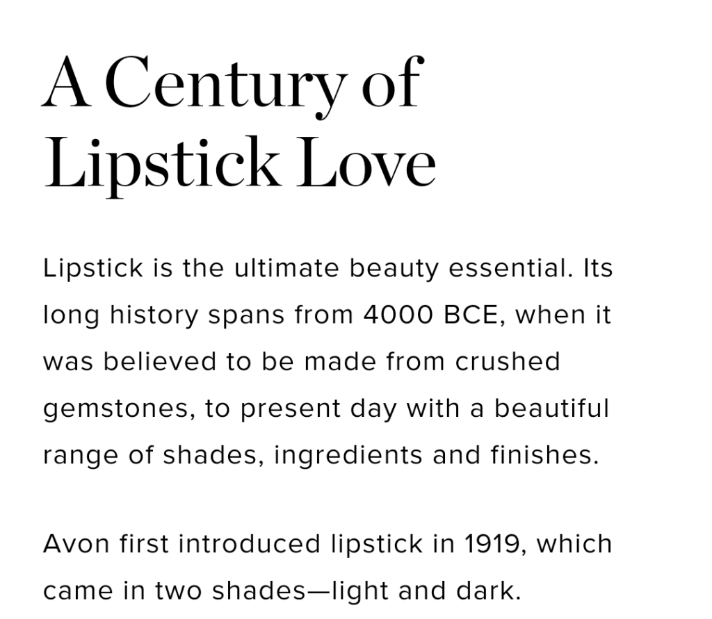 A Century of Lipstick Love - Avon's 135th Anniversary celebration story.