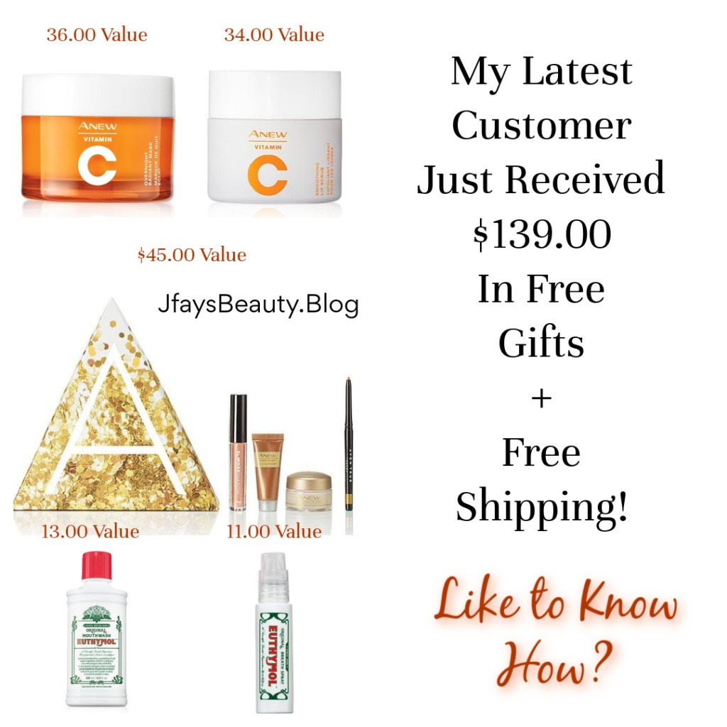My customer received $139.00 worth of free gifts plus free shipping with her Avon order.