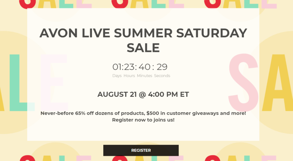 Avon Live Shopping Event, Saturday August 21 with 65% off and $500 Giveaways.