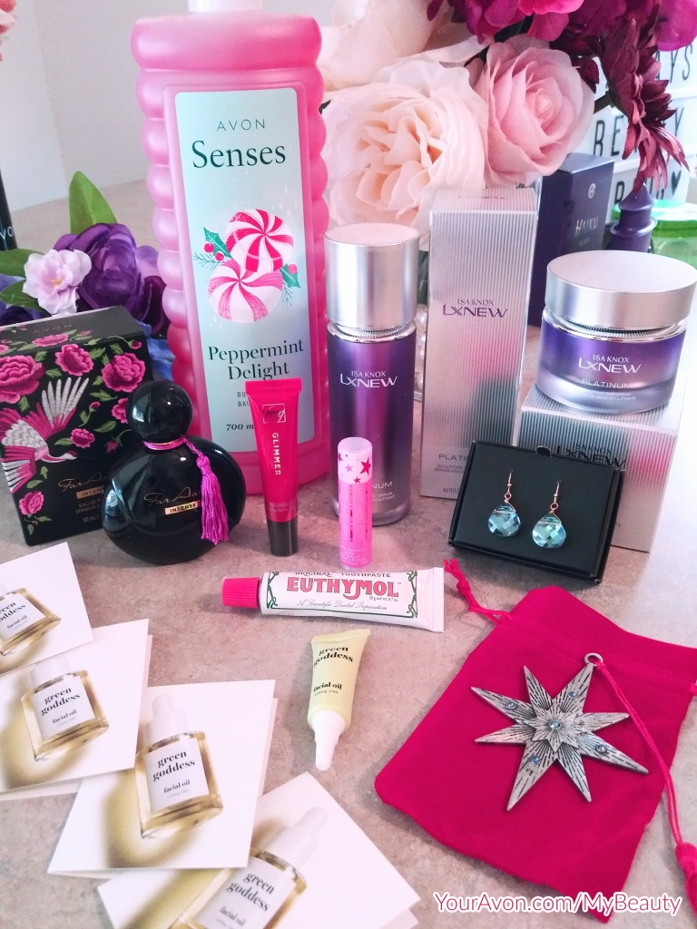 Avon Convention 2021 Swag including soon to be released Avon products.