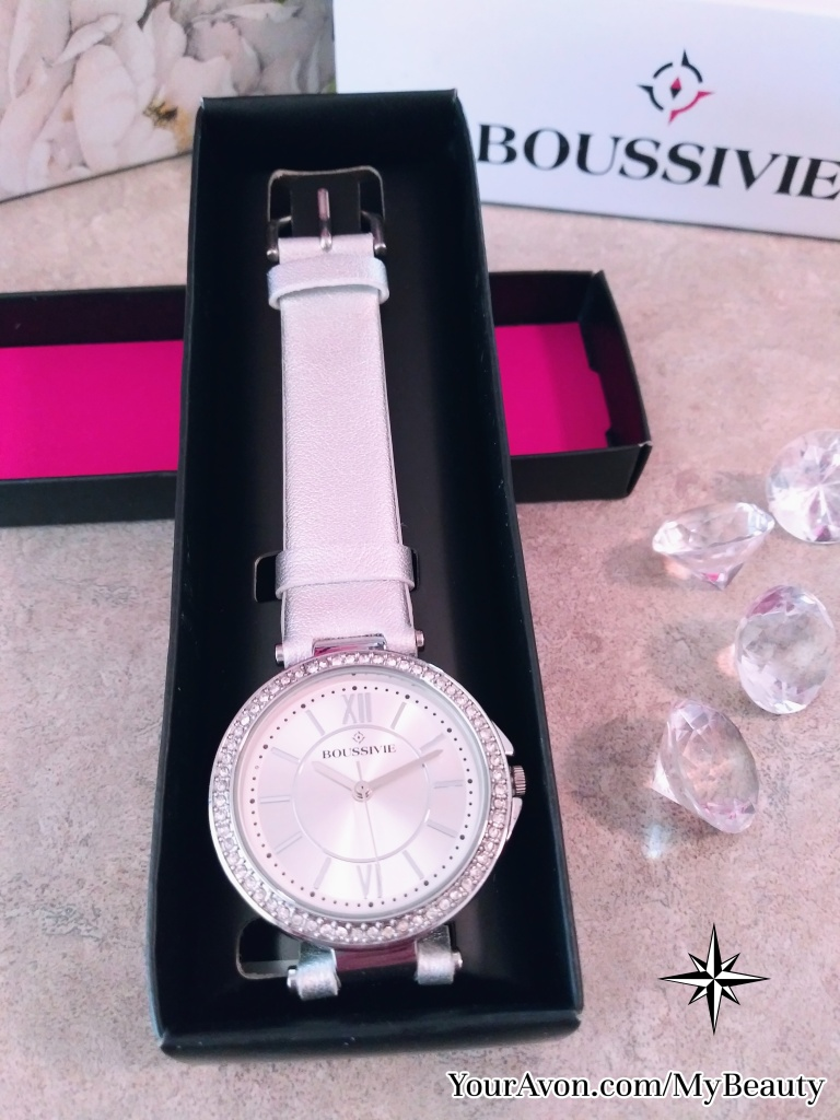 Rhinestone Accented Boussivie Watch with Silver Strap from Avon.