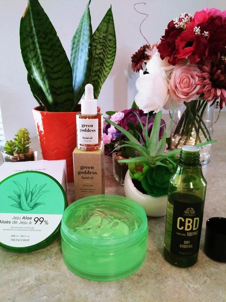 Jeju Aloe 99% Fresh Soothing Gel, Green Goddess CBD Facial Oil, and Veilment CBD Dry Body Oil from Avon