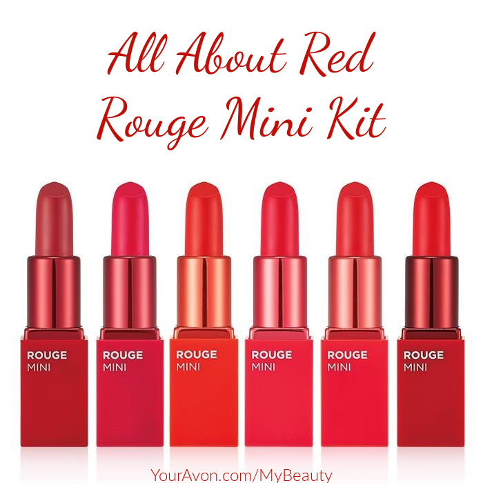 All about Red Rouge Mini Kit.  Limited Edition Lipstick Kit arriving Sept. 29th from Avon.