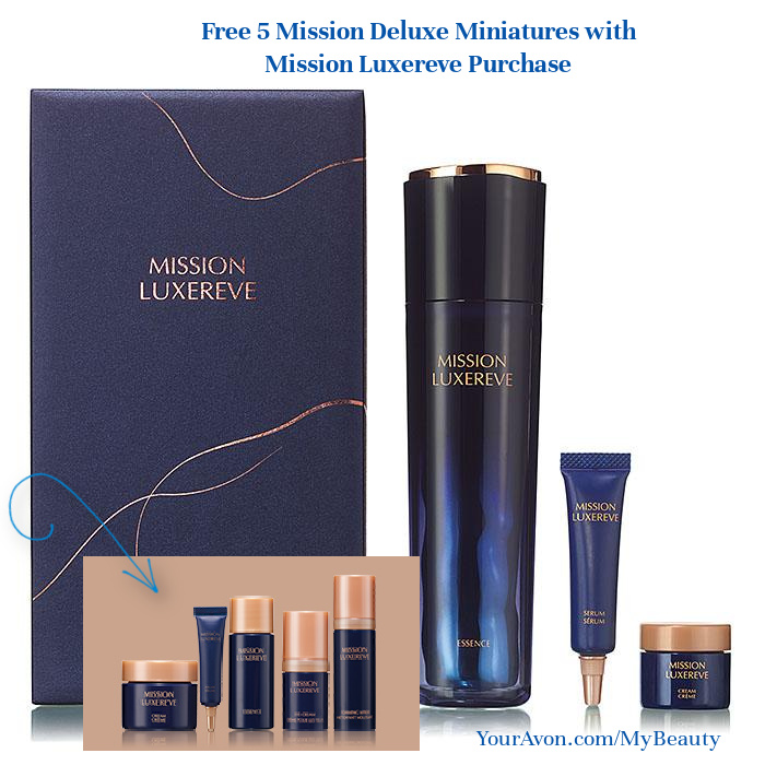 Free 5 Mission Miniatures with Mission Luxereve Purchase.  Luxury Skincare from Avon.