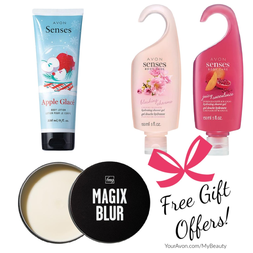 Free gift offers from Avon. Shower gels, body lotion and oil control primer.