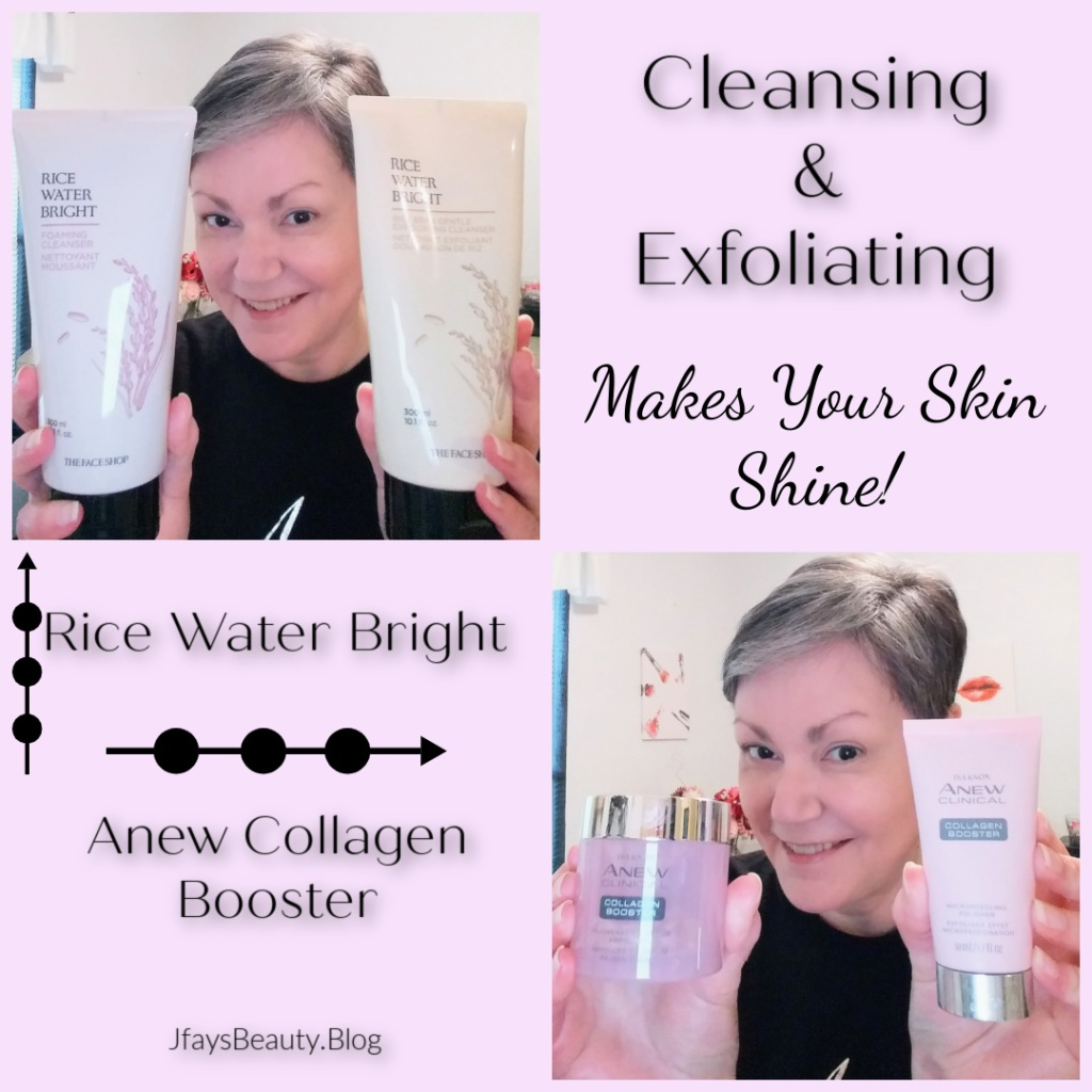 Rice Water Bright Facial Cleanser and Isa Knox Anew Collagen Booster from Avon for satin smooth skin.