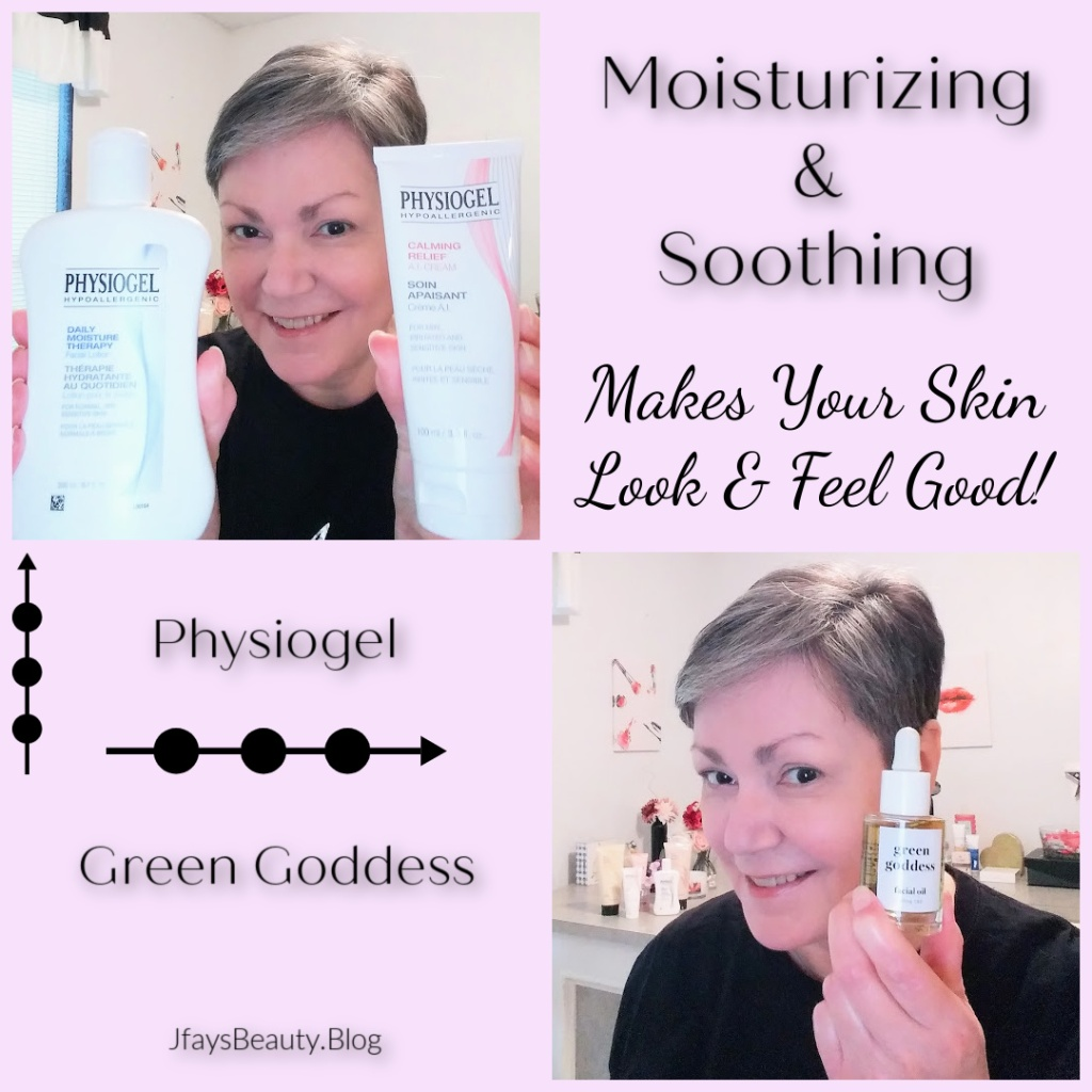 Physiogel Moisturizers for dry, sensitive skin and Green Goddess CBD Facial Oil to soothe your skin.