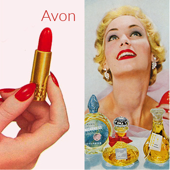 Vintage Avon model, perfumes, and lipstick.